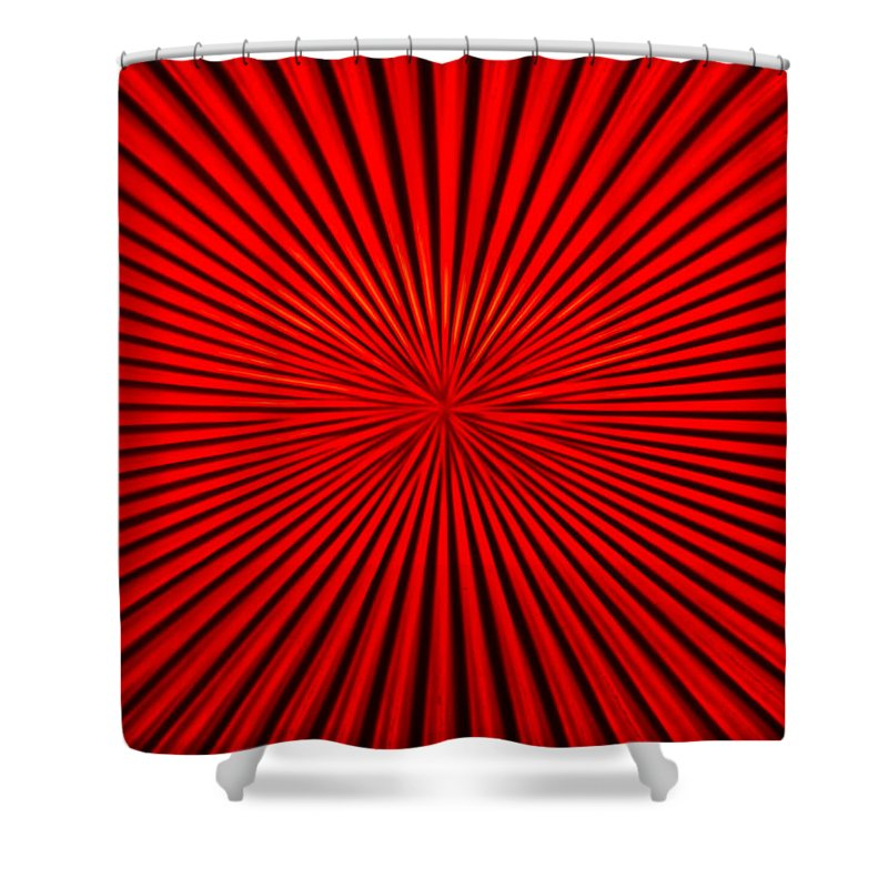 Vortex Shower Curtain featuring the photograph Red Glass Abstract 1 by John Brueske
