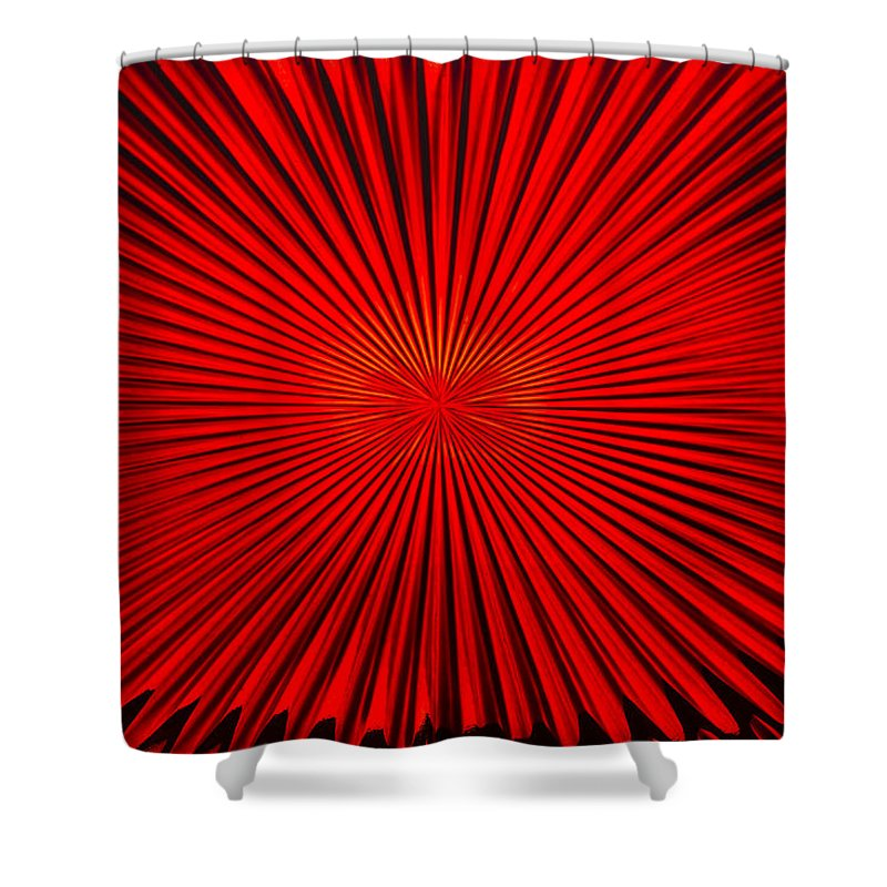 Vortex Shower Curtain featuring the photograph Red Glass Abstract 4 by John Brueske