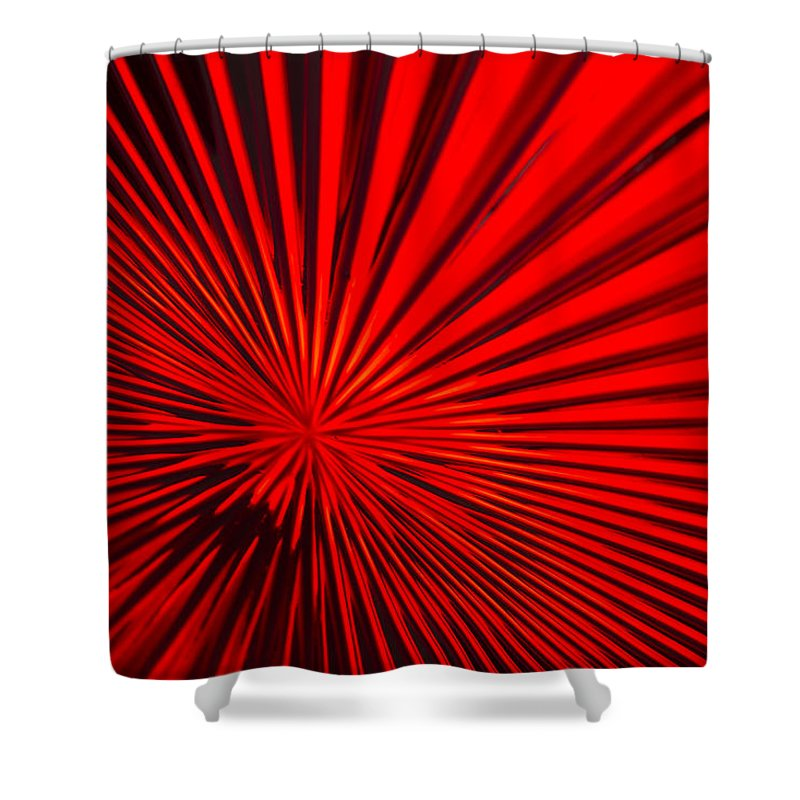 Vortex Shower Curtain featuring the photograph Red Glass Abstract 6 by John Brueske