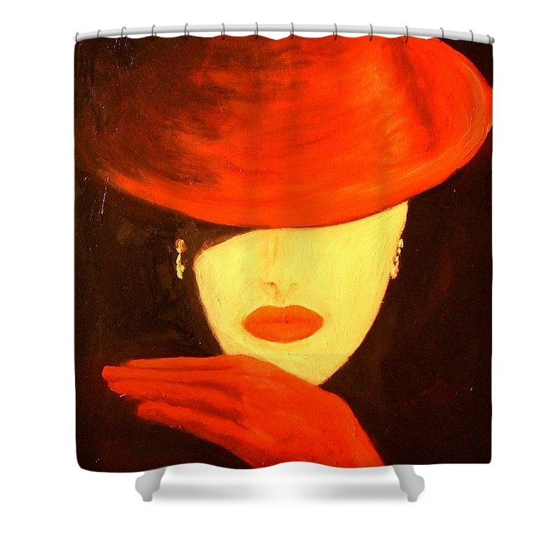 Red Shower Curtain featuring the painting Red Hat by Birgit Schnapp