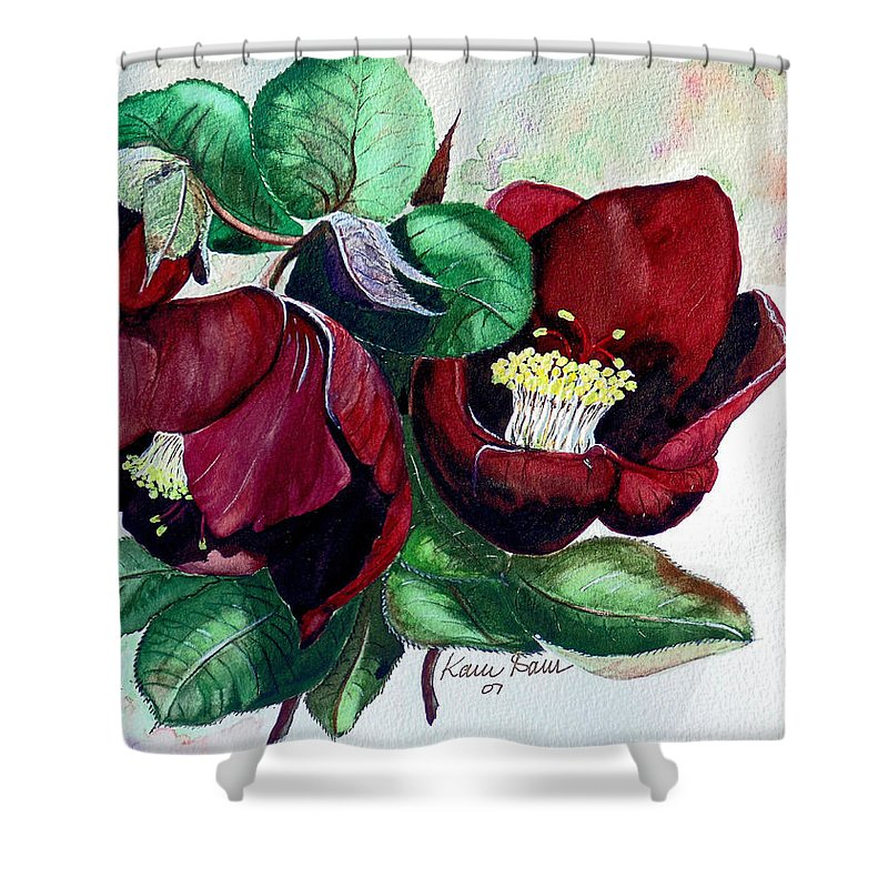 Red Helleborous Painting Flower Painting  Botanical Painting Watercolor Painting Original Painting Floral Painting Flower Painting Red Painting  Greeting Painting Shower Curtain featuring the painting Red Helleborous by Karin Dawn Kelshall- Best