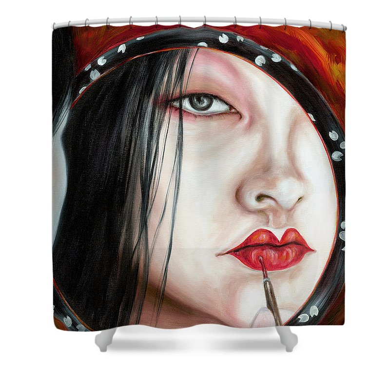 Japanese Woman Shower Curtain featuring the painting Red by Hiroko Sakai