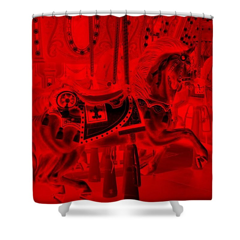 Carousel Shower Curtain featuring the photograph Red Horse by Rob Hans