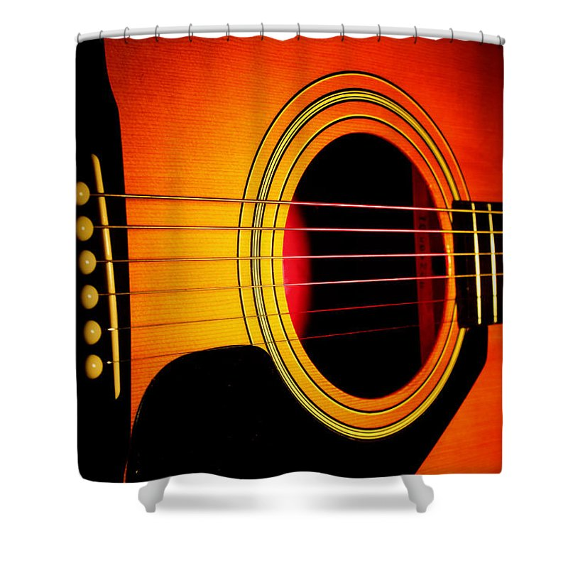 Guitar Shower Curtain featuring the photograph Red Hot Guitar by Robert Storost