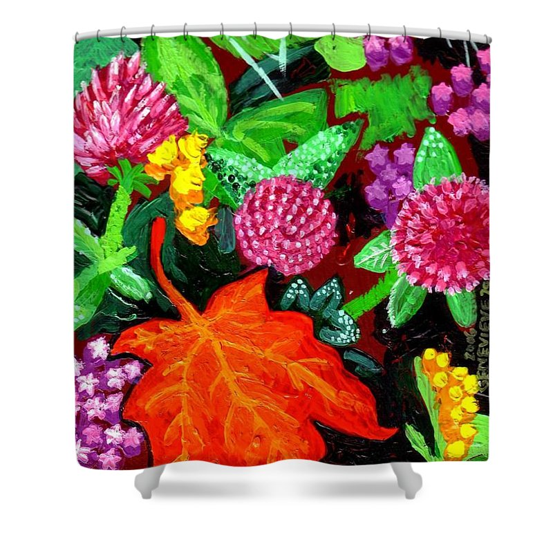 Leaf Shower Curtain featuring the painting Red Leaf by Genevieve Esson