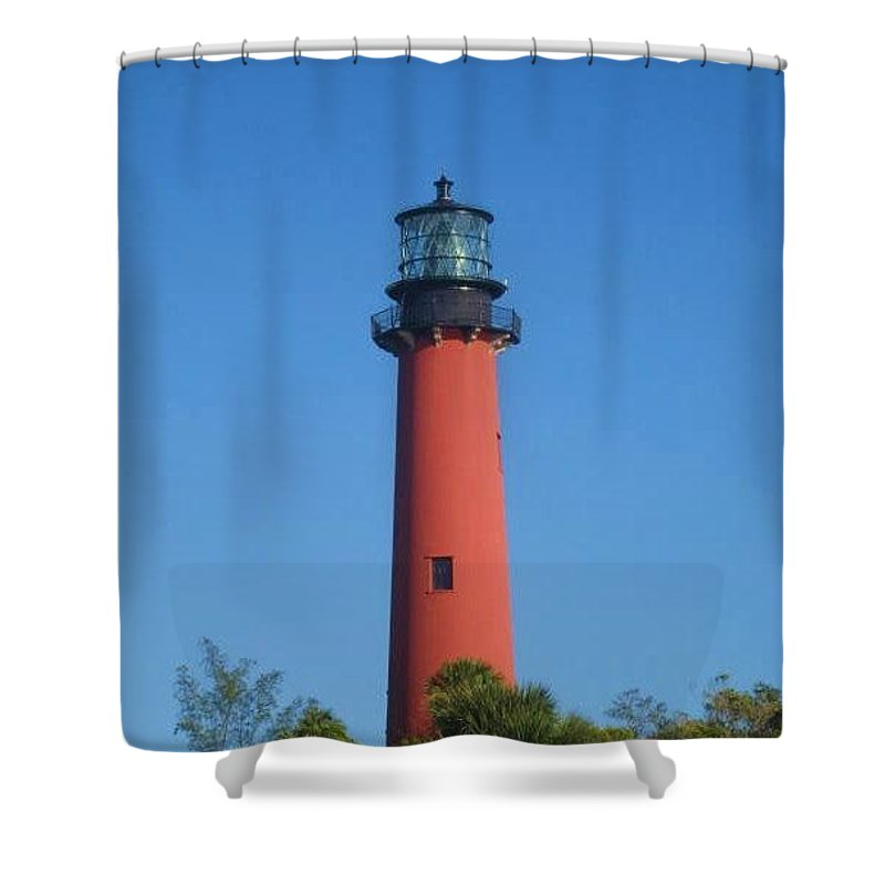 Jupiter Lighthouse Shower Curtain featuring the photograph Red Lighthouse by Catie Canetti