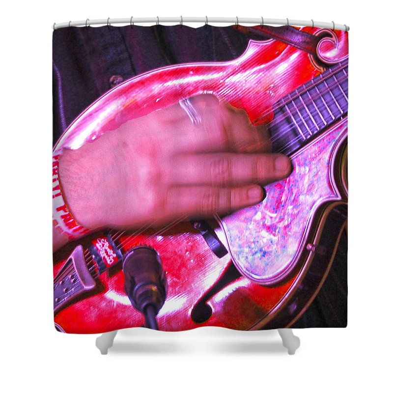 Mandolin Shower Curtain featuring the photograph Red Mandolin by C H Apperson