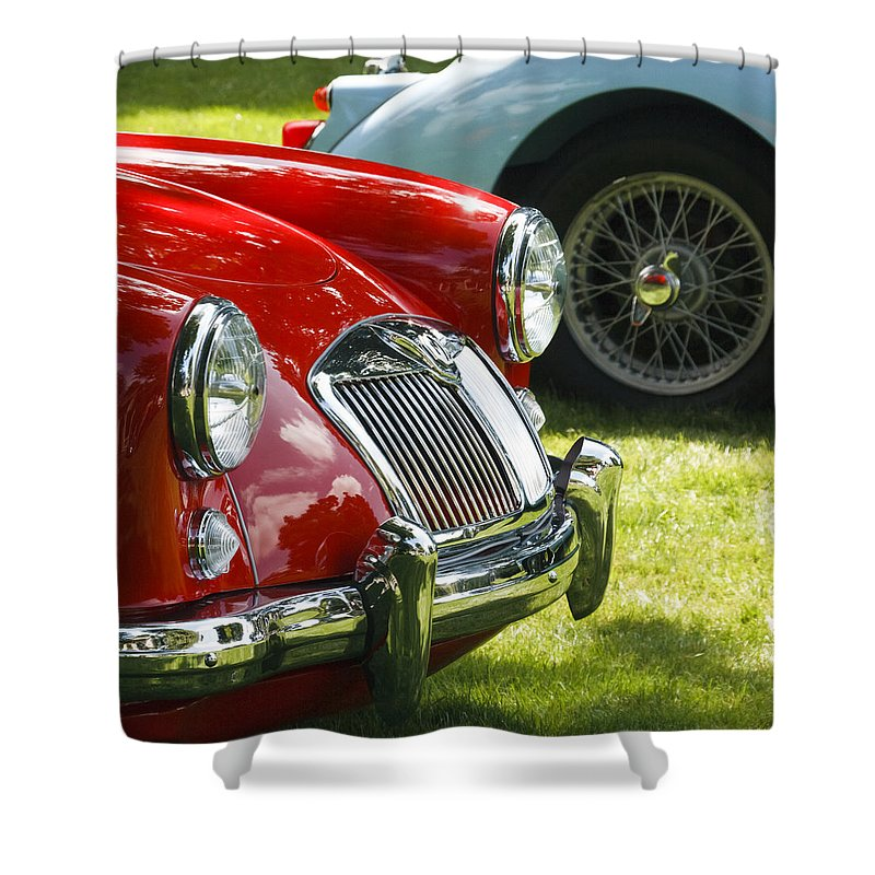 Red Mg Shower Curtain featuring the photograph Red M G by Wes and Dotty Weber