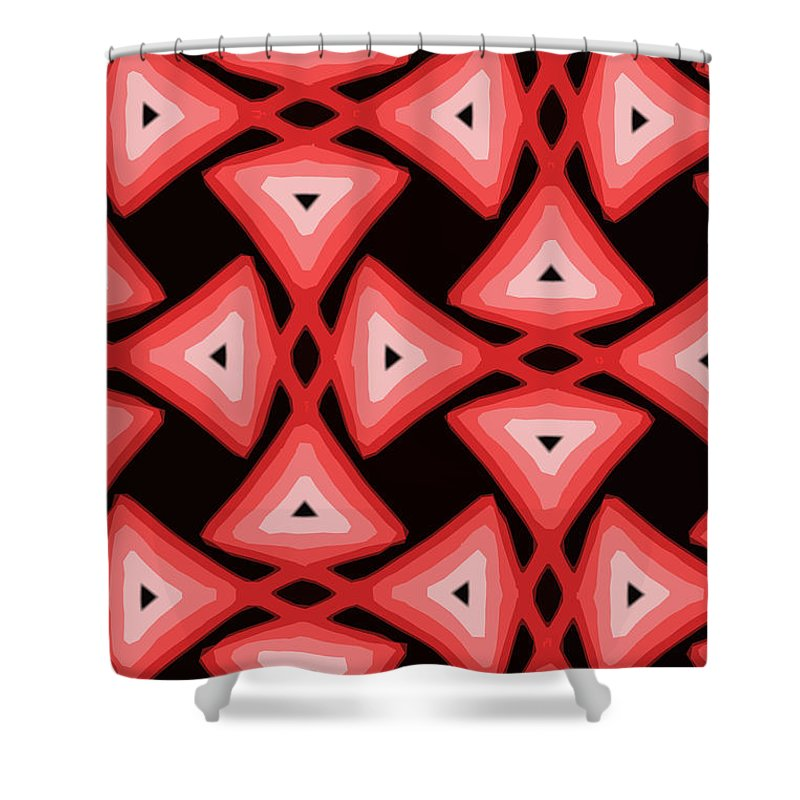 Textile Shower Curtain featuring the digital art Red Ornament IIi by Tatjana Popovska