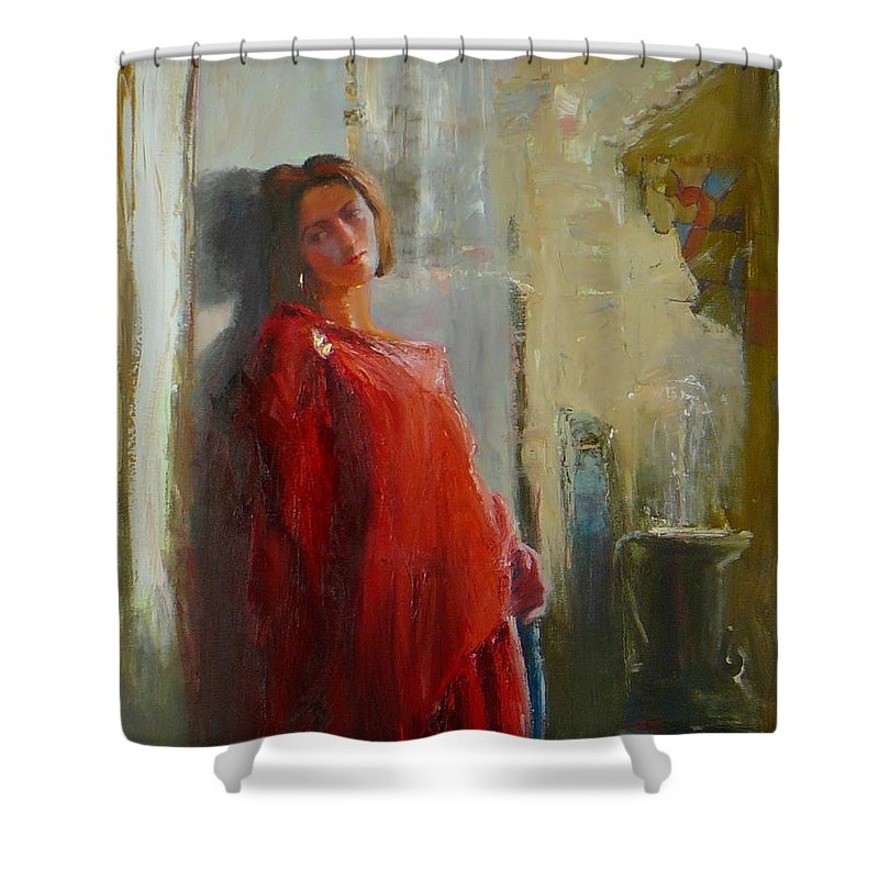 Red Poncho Shower Curtain featuring the painting Red Poncho by Irena Jablonski
