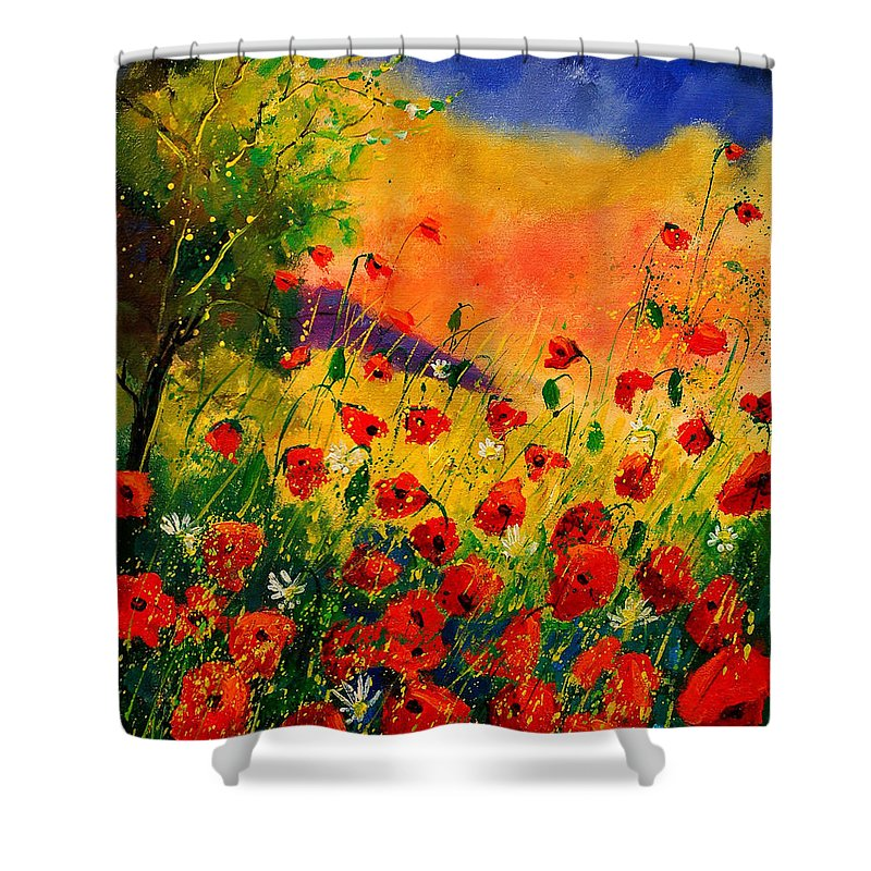 Poppies Shower Curtain featuring the painting Red Poppies 45 by Pol Ledent