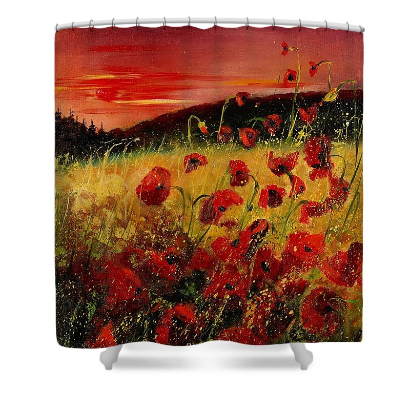 Poppies Shower Curtain featuring the painting Red Poppies And Sunset by Pol Ledent