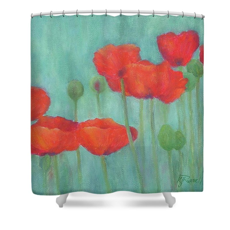 Red Poppies Shower Curtain featuring the painting Red Poppies Colorful Poppy Flowers Original Art Floral Garden by K Joann Russell