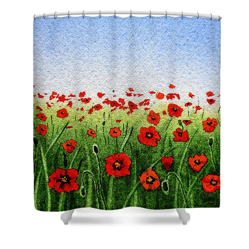 Poppies Shower Curtain Featuring The Painting Red Green Field And A Blue Sky By
