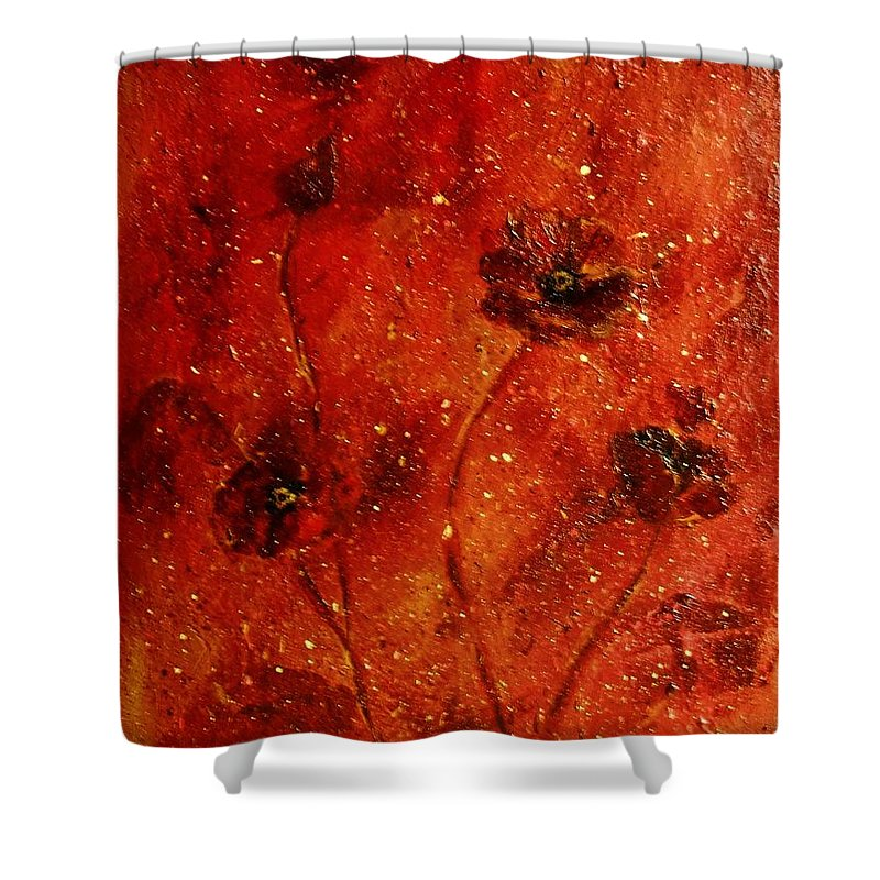 Red Poppies Shower Curtain featuring the painting Red Poppies by Robin Monroe