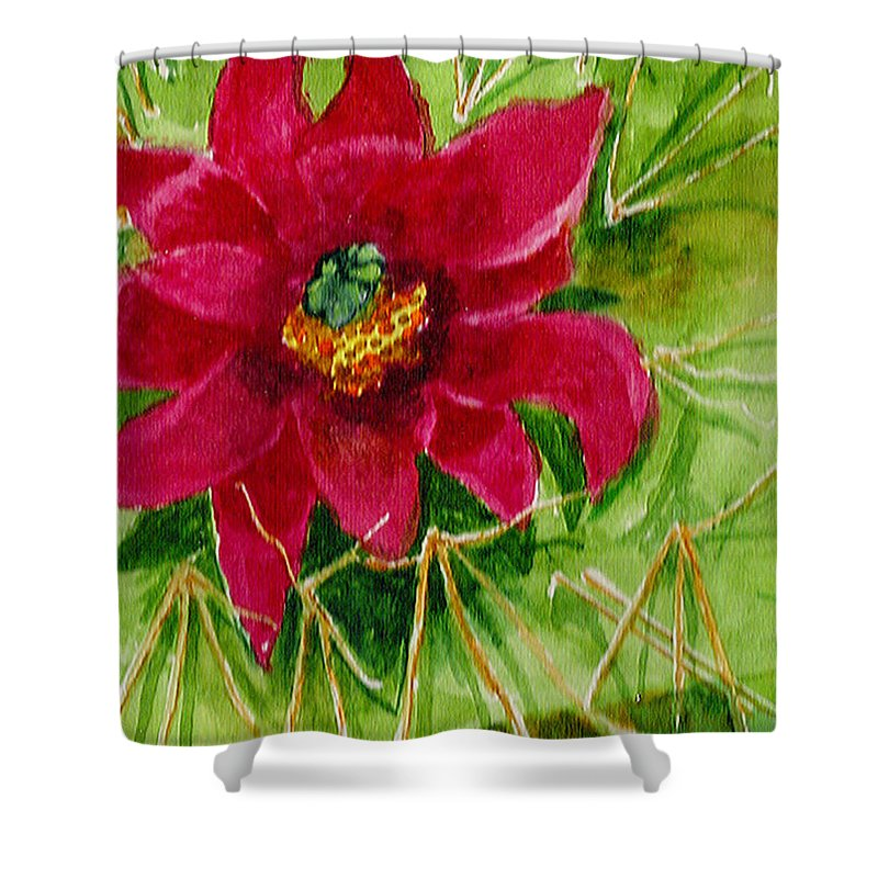 Red Shower Curtain featuring the painting Red Prickly Pear by Eric Samuelson