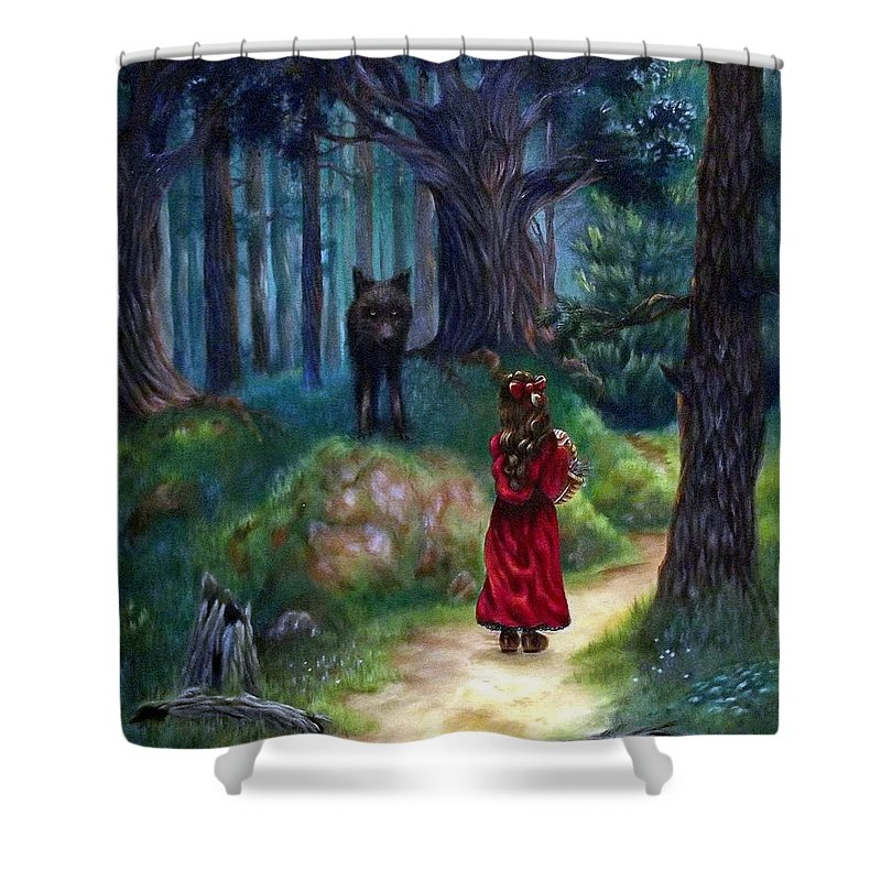 Red Riding Hood Shower Curtain featuring the painting Red Riding Hood by Heather Calderon