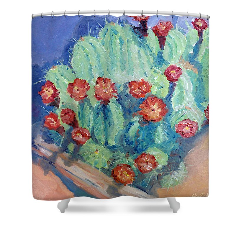 Cactus Shower Curtain featuring the painting Red Rock Beauty by Sarah Sheffield