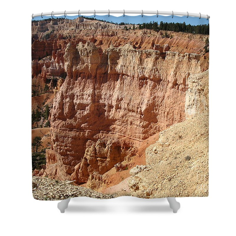 Rocks Shower Curtain featuring the photograph Red Rock Bryce Canyon by Christiane Schulze Art And Photography