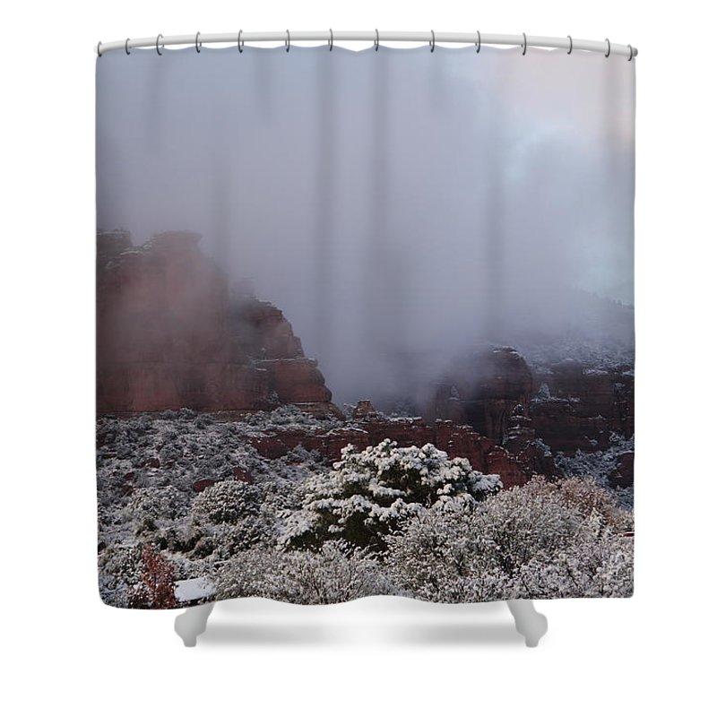 Scenics Shower Curtain featuring the photograph Red Rock Fog Snow Sedona Arizona by Sassy1902
