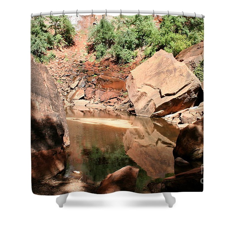 Red Rocks Shower Curtain featuring the photograph Red Rock Reflection I by Christiane Schulze Art And Photography