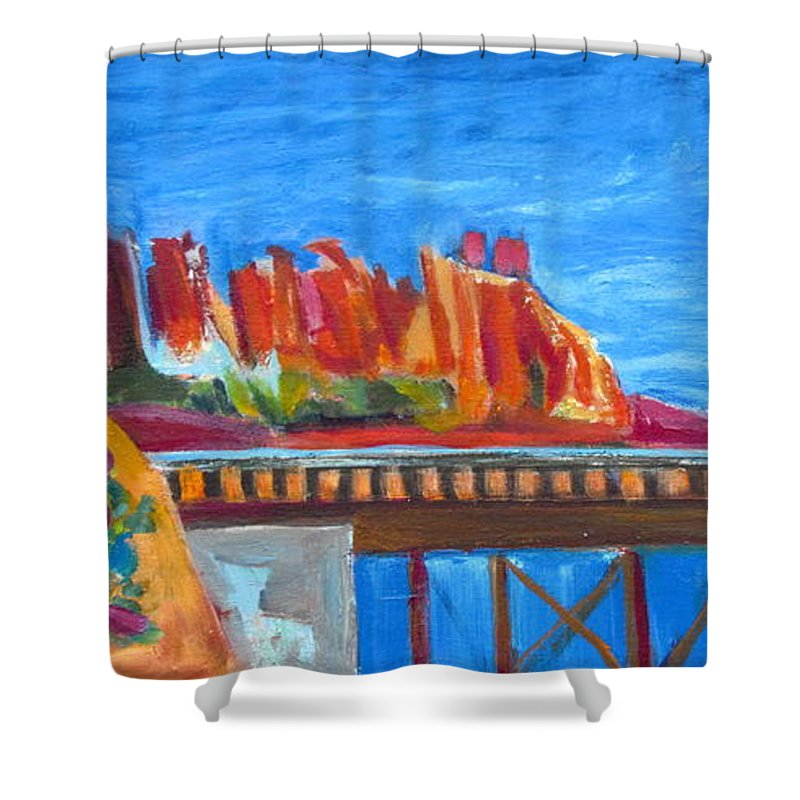 Southwest Shower Curtain featuring the painting Red Rocks And Railroad Trestle by Betty Pieper