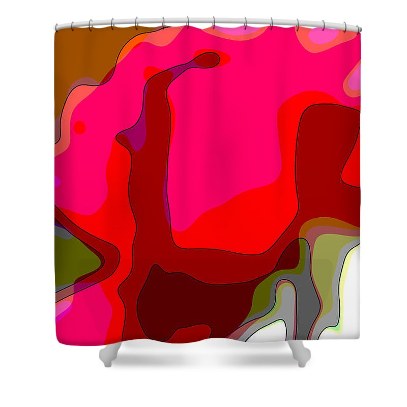 Augusta Stylianou Shower Curtain featuring the digital art Red Rose Abstract by Augusta Stylianou