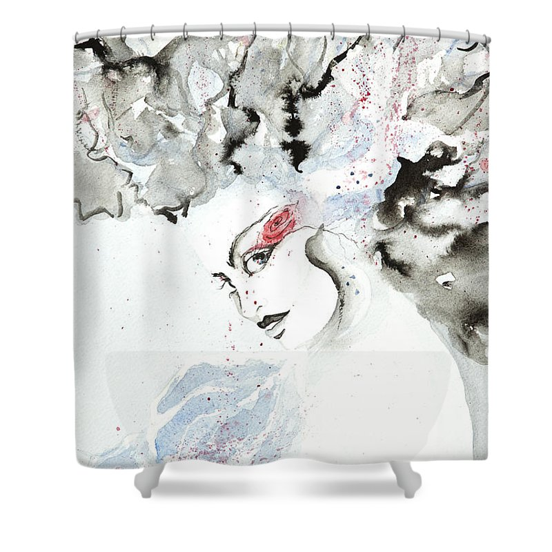 Esthers Prints & Cards Shower Curtain featuring the painting Red Rose by Esther Willsher
