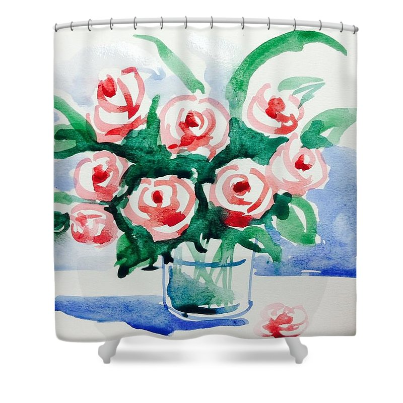 Shower Curtain featuring the painting Red Rose For Her by Hae Kim