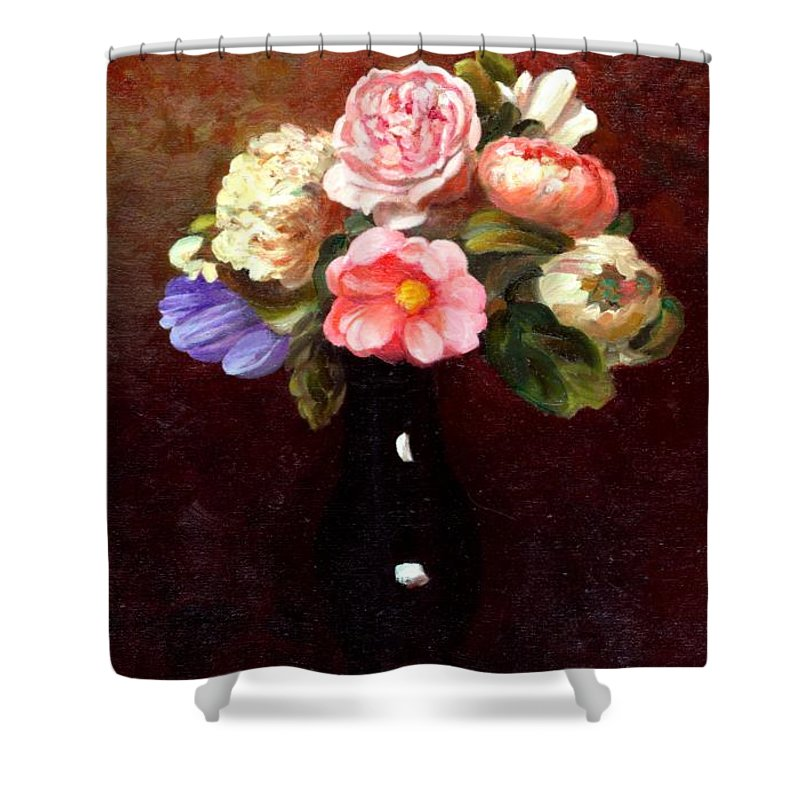 Still Life Shower Curtain featuring the painting Red Roses In A Black Vase by Edward Skallberg