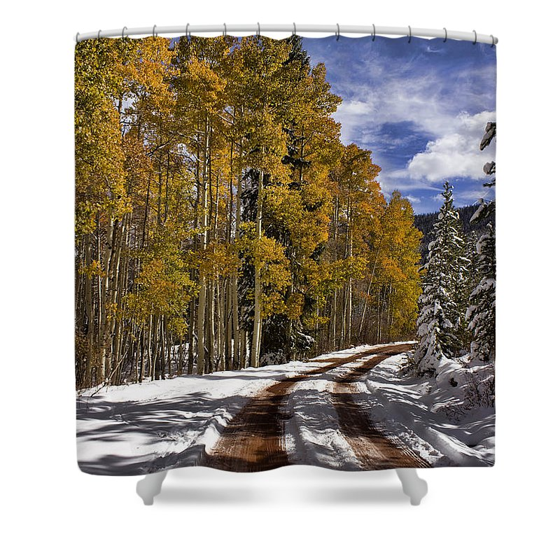 Road Shower Curtain featuring the photograph Red Sandstone Road In October by Ellen Heaverlo