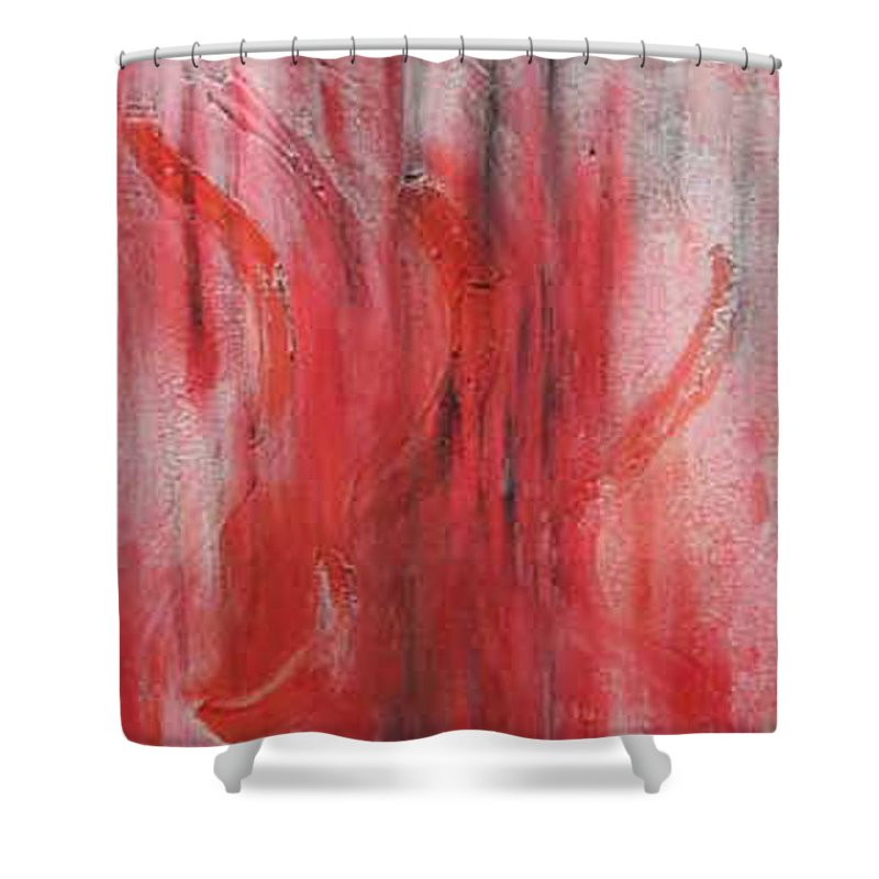 Abstract Shower Curtain featuring the painting Red Sea by Silvana Abel