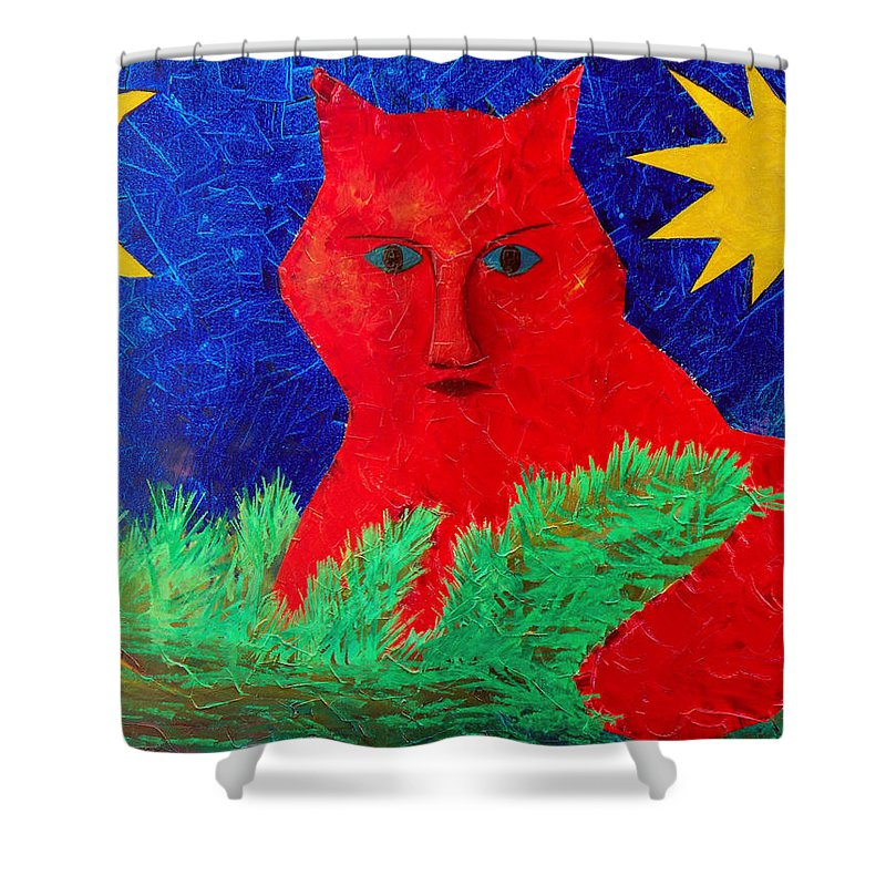 Fantasy Shower Curtain featuring the painting Red by Sergey Bezhinets