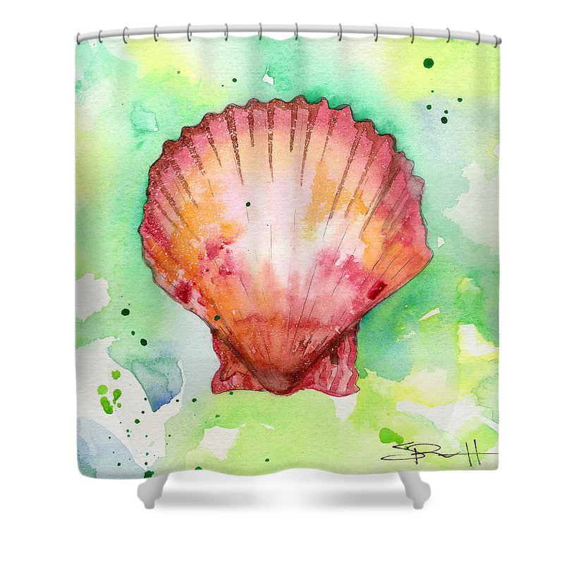 Shore Shower Curtain featuring the painting Red Shell by Sean Parnell