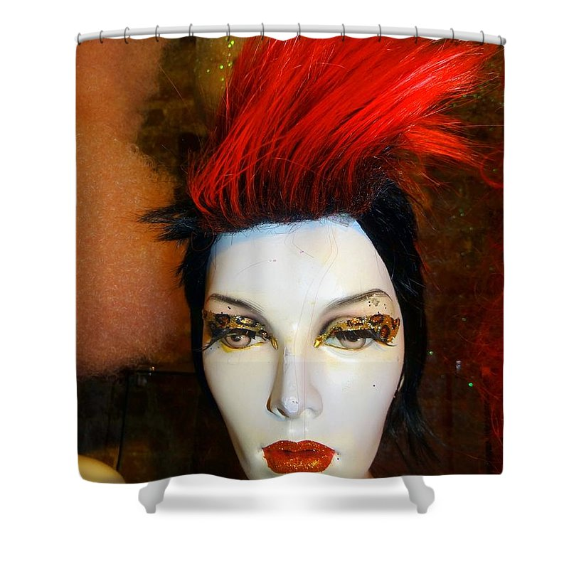 Mannequins Shower Curtain featuring the photograph Red Streak by Ed Weidman