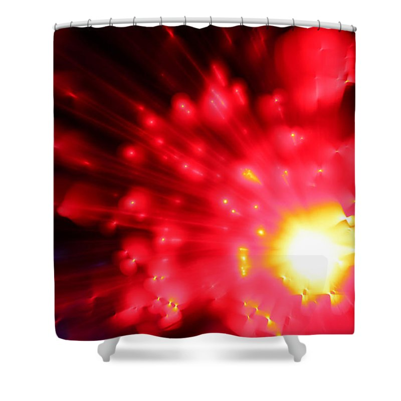 Abstract Shower Curtain featuring the photograph Red Sun by Dazzle Zazz