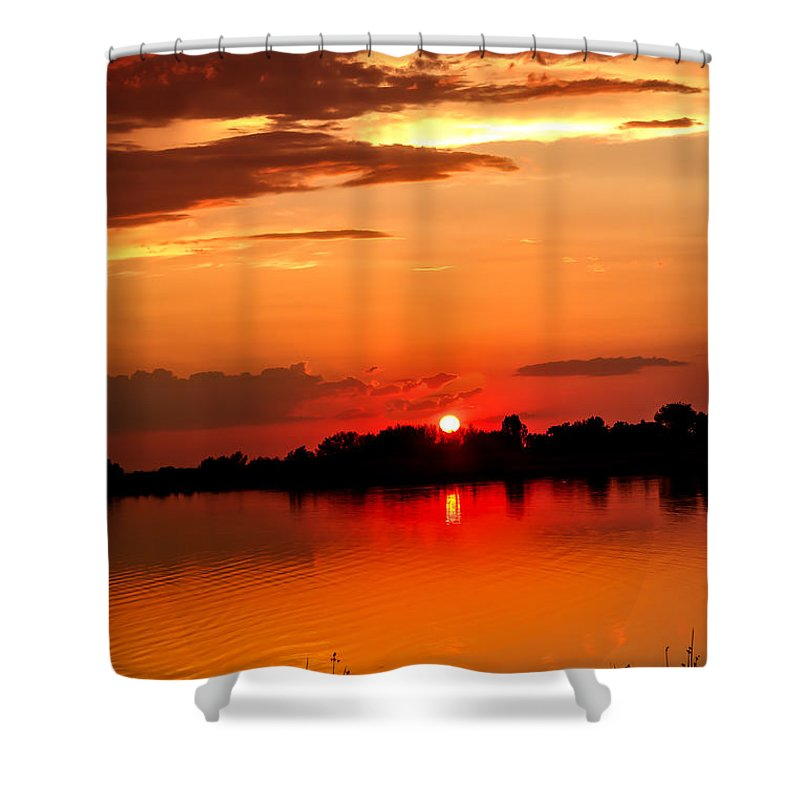 Sunset Shower Curtain featuring the photograph Red Sunset Beauty by Robert Bales