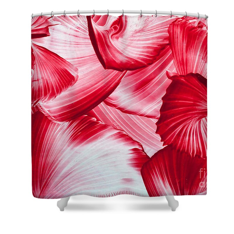Red Shower Curtain featuring the painting Red Swirls Background by Simon Bratt Photography LRPS