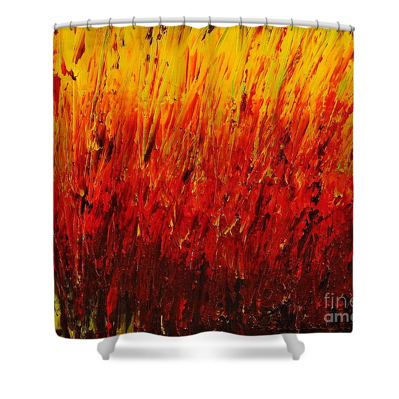 Heavy Texture Shower Curtain featuring the painting RED by Teresa Wegrzyn