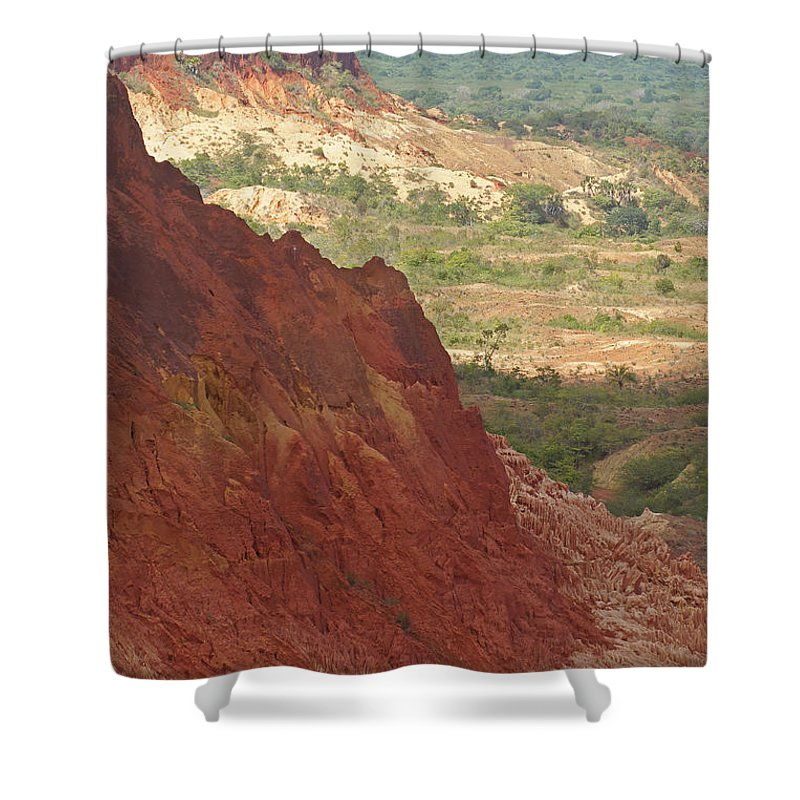 Nature Shower Curtain featuring the photograph red Tsingy landscape Madagascar 2 by Rudi Prott