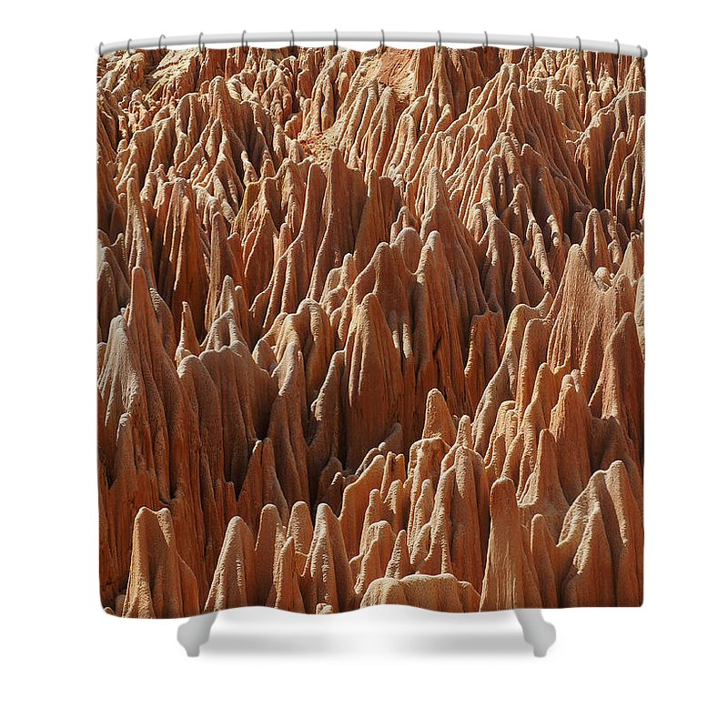 Rudi Shower Curtain featuring the photograph red Tsingy Madagascar 3 by Rudi Prott