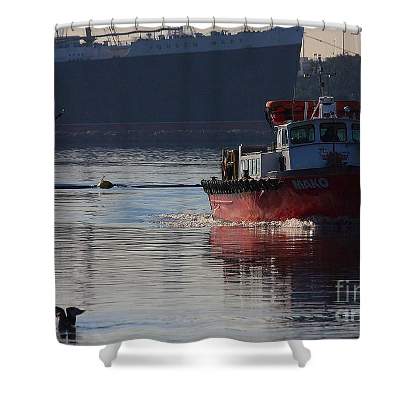 City Of Long Beach Shower Curtain featuring the photograph Red Tug Boat by Luv Photography