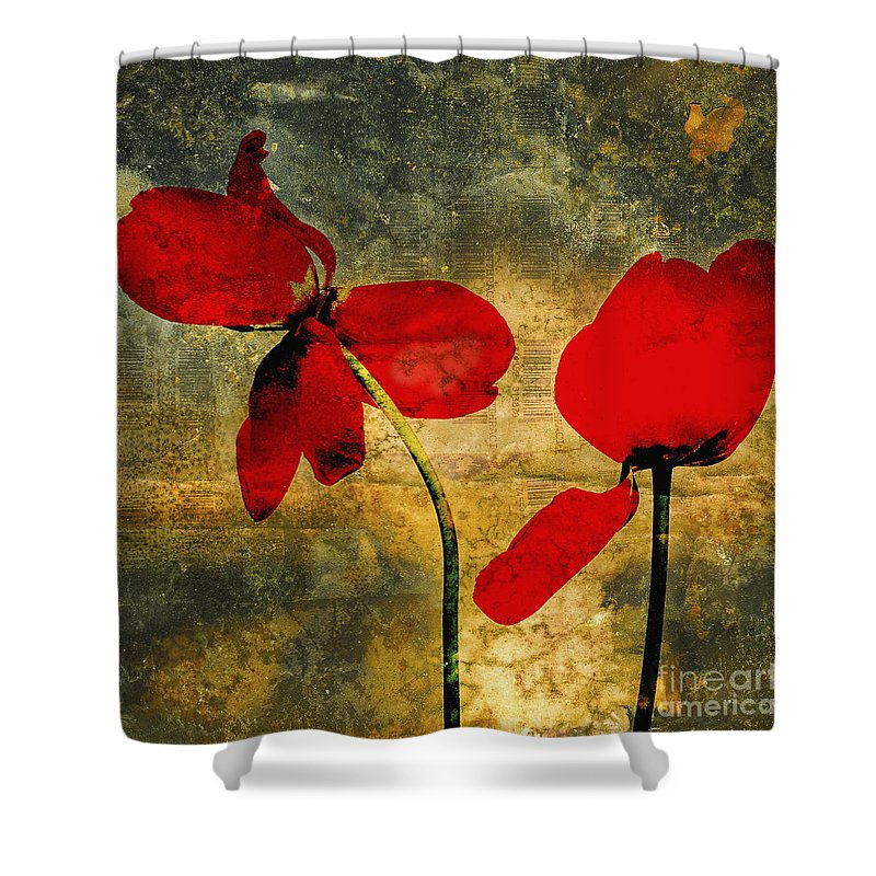 Studio Shot Shower Curtain featuring the photograph Red Tulips On A Textured Background by Bernard Jaubert