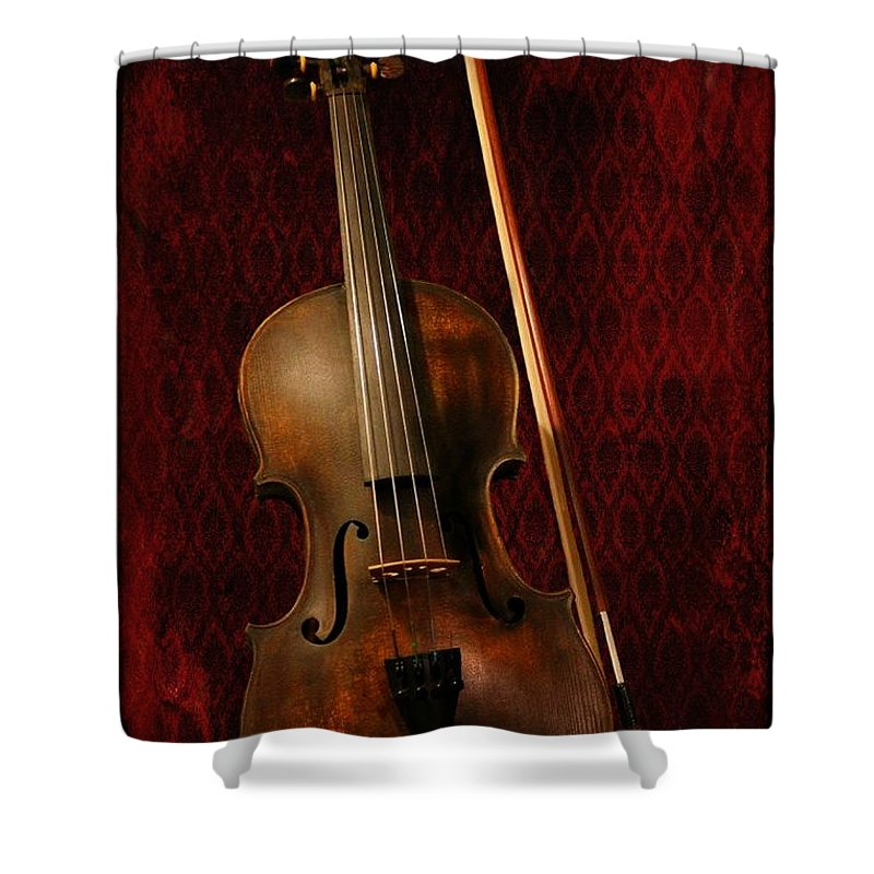 Violin Shower Curtain featuring the photograph Red Violin by Davandra Cribbie