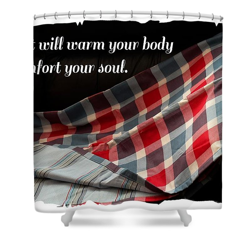 Red White And Blue Quilt With Quote Shower Curtain For Sale By Barbara Griffin