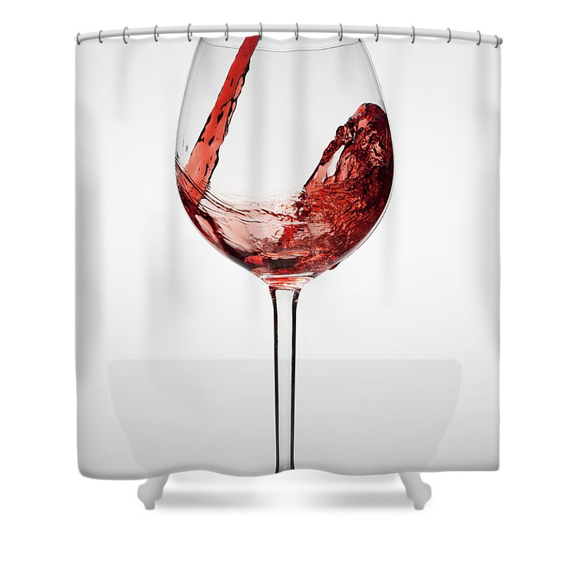 Alcohol Shower Curtain featuring the photograph Red Wine Being Poured Into A Glass by Dual Dual