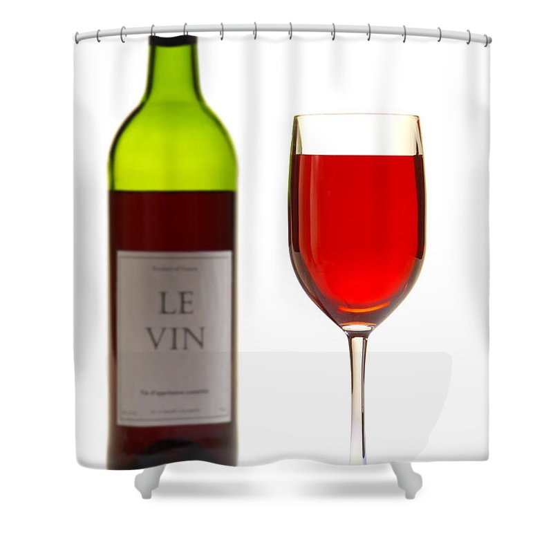 Wine Shower Curtain Featuring The Photograph Red Bottle And Glass By Olivier Le Queinec