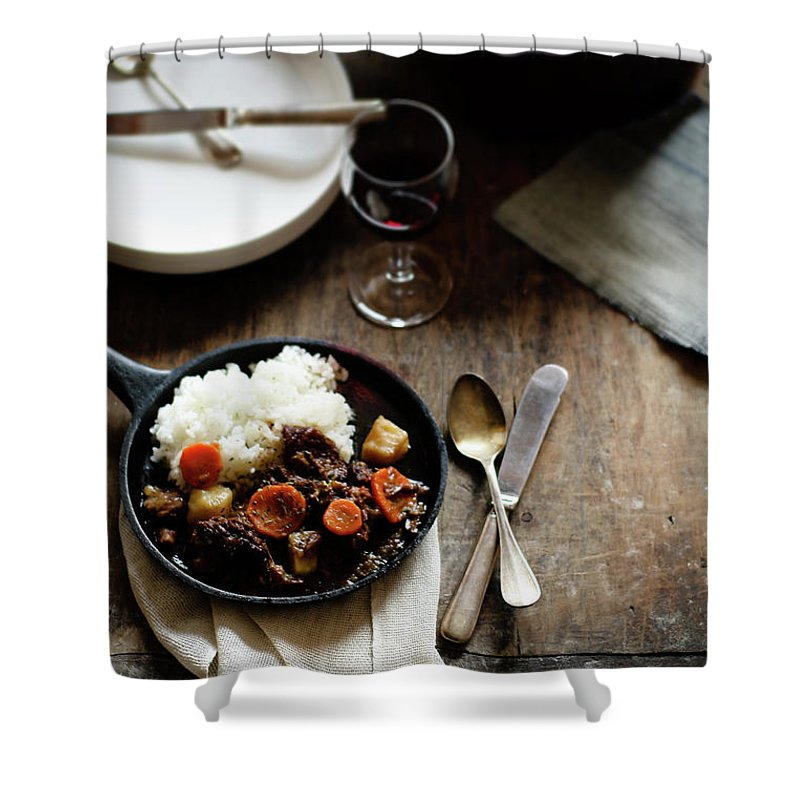 Spoon Shower Curtain featuring the photograph Red Wine Braised Beef by 200