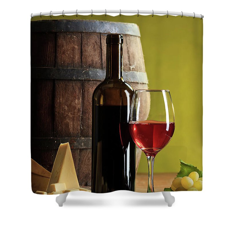 Cheese Shower Curtain featuring the photograph Red Wine Composition by Valentinrussanov