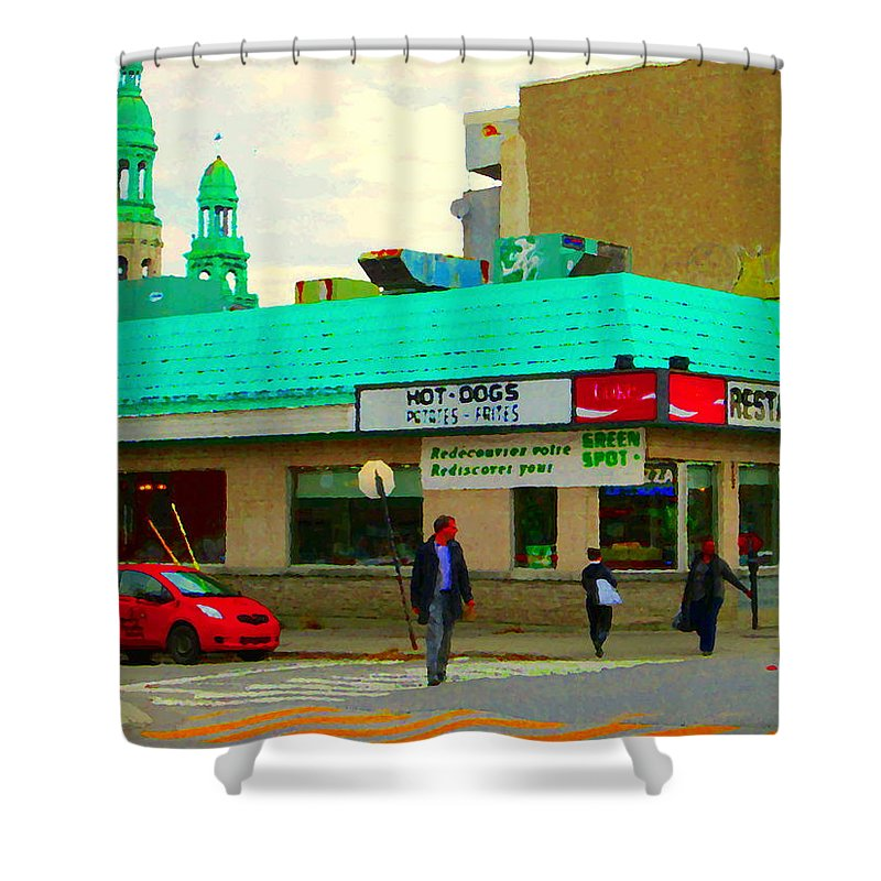St.henri Shower Curtain featuring the painting Rediscover Your Greenspot Notre Dame St Henri Dogs Et Frites Urban Food City Scenes Carole Spandau by Carole Spandau